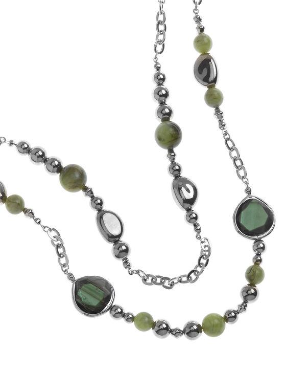 Sautoir double rang pierres facettées et perles, Vert, hi-res