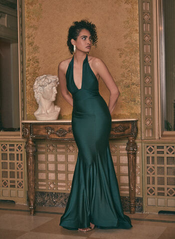 Halter Neck Mermaid Dress, Green,  prom dress, gown, halter neck, open back, mermaid, satin, full length, train, crinoline, spring summer 2021