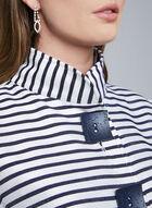 Joseph Ribkoff - Stripe Print Tulip Sleeve Jacket, Blue, hi-res