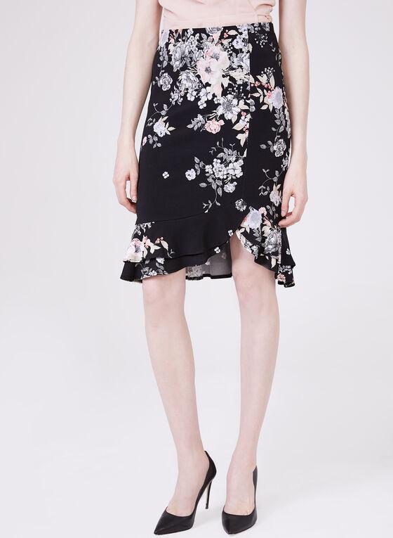 Floral Print Ruffle Hem Skirt, Black, hi-res