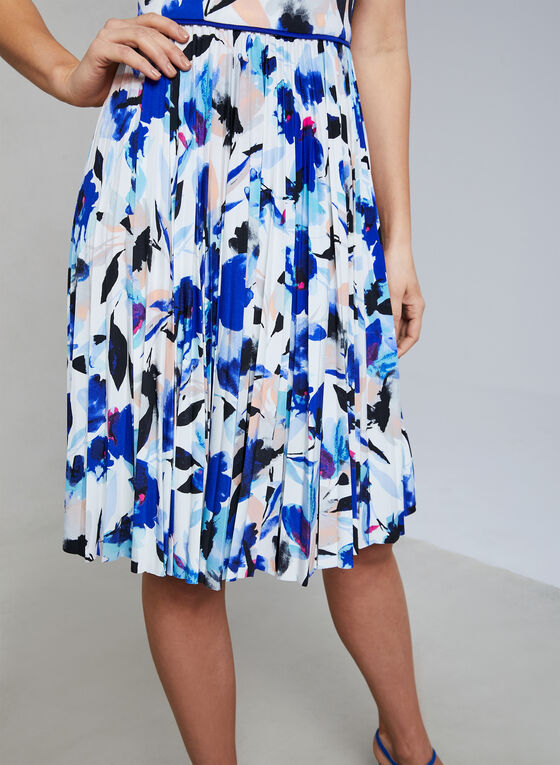 Maggy London - Floral Print Pleated Dress, Blue, hi-res