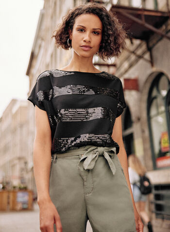 Striped Sequin Detail Top, Black,  fall winter 2021, tops, tees, sequin, stripes, short sleeves, boat neck,