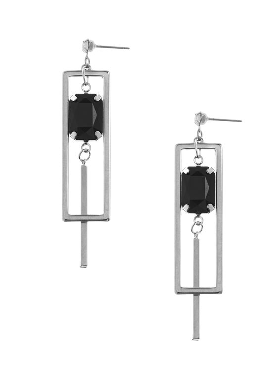 Two-Tone Geometric Earrings, Black, hi-res