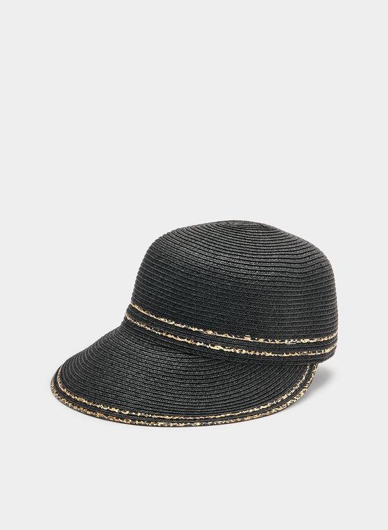 Animal Print Trim Straw Cap, Black, hi-res