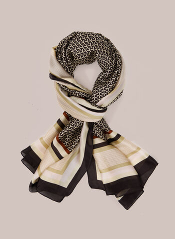 Multi Print Lightweight Scarf, Black,  scarf, lightweight, stripe, print, chiffon, fall winter 2020