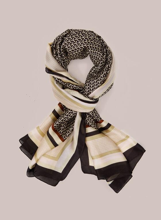 Foulard en mousseline à motifs variés, Noir