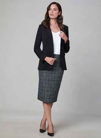 Plaid Print Pencil Skirt, Grey,  fully lined, midi, plaid, fall 2019, winter 2019