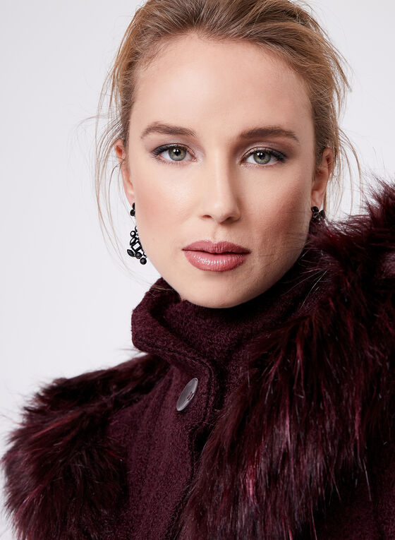 Manteau en laine à grand capuchon et fausse fourrure, Violet, hi-res