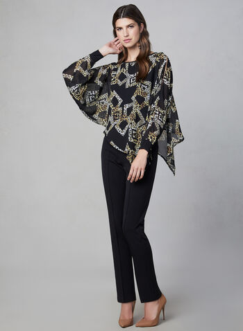 Joseph Ribkoff –Leopard Print Batwing Sleeve Blouse, Black,  poncho top