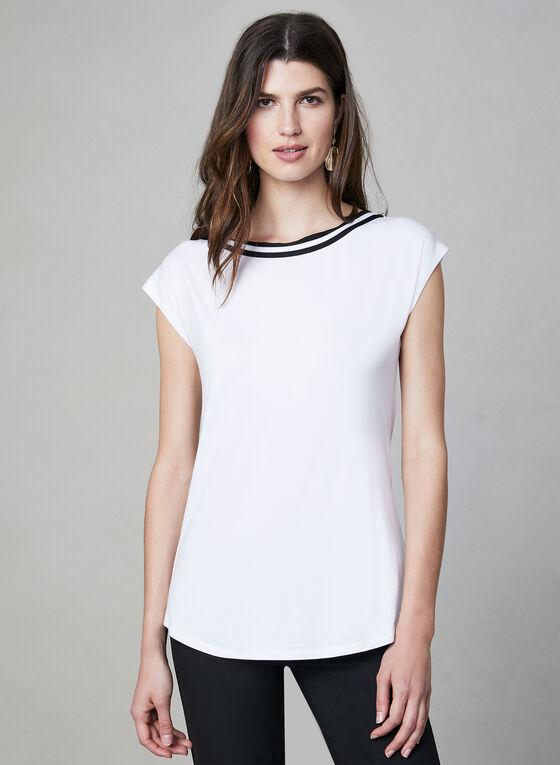 Haut en bambou à détail contrastant, Blanc