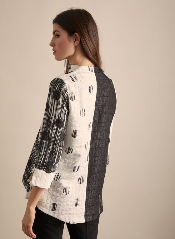 Joseph Ribkoff - Dot & Charcoal Print Jacket, White