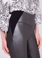 Metallic Faux Leather Pants, Grey, hi-res
