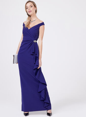Vince Camuto – Off The Shoulder Surplice Gown, Blue, hi-res