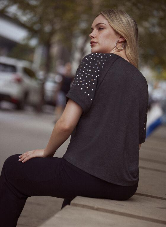 T-shirt à manches courtes à détails cloutés, Gris