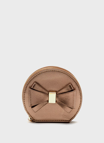 Metallic Bow Detail Coin Purse, Brown, hi-res