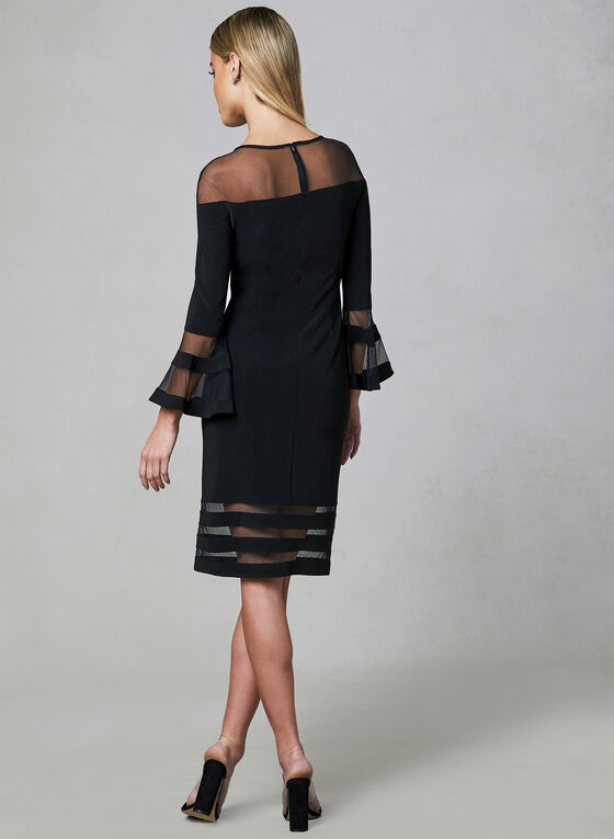 Joseph Ribkoff - Bell Sleeve Illusion Dress, Black, hi-res