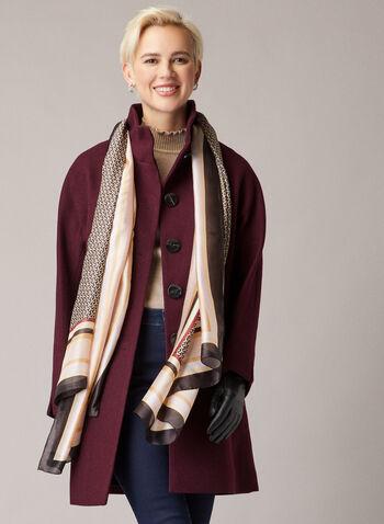 Manteau boutonné à col montant, Violet,  manteau, bouton, laine, poches, col montant, automne hiver 2020