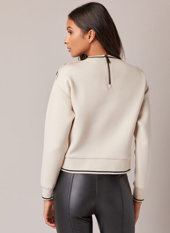 Button Detail Crewneck Sweatshirt, Off White