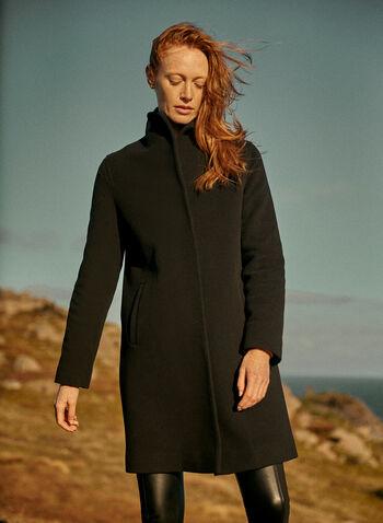 Mallia - Wool Blend Coat , Black,  Mallia, coat, wool, mid-length, piped pockets, shoulder pads, wing collar, fall 2019, winter 2019
