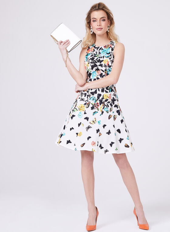 Maggy London - Butterfly Print Fit & Flare Dress, Multi, hi-res