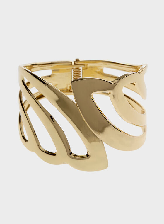 Wide Cut-Out Hinged Bangle, Gold, hi-res
