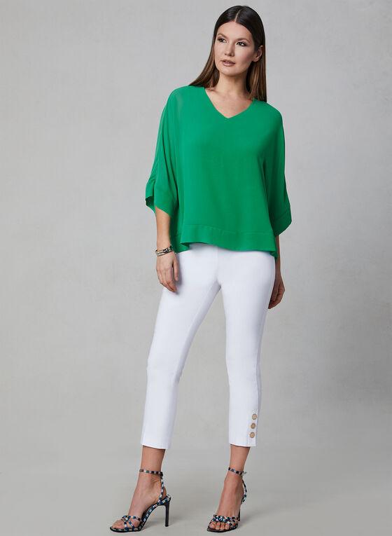 Pull-On Button Detail Capri Pants, White, hi-res