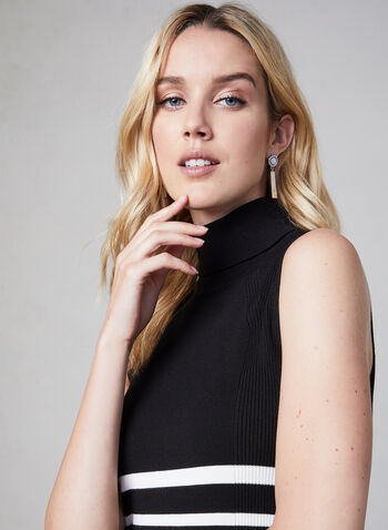 Sleeveless Turtleneck Sweater, Black, hi-res,  fall 2019, winter 2019, Sleeveless, Turtleneck, stripe print