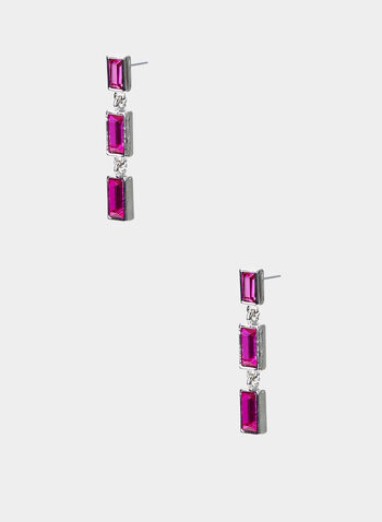 Rectangular Dangle Earrings, Pink,  dangle earrings, 3 tier rectangular stones, linear, fall 2019
