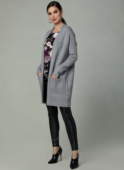 Open Front Ottoman Knit Sweater, Grey, hi-res
