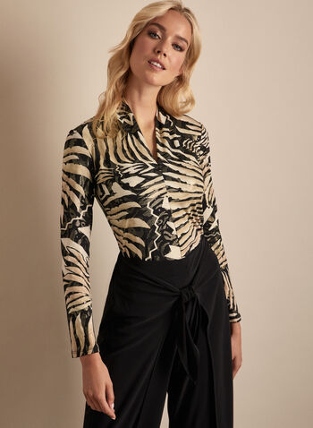 Joseph Ribkoff - Zebra Print V-Neck Top, Black,  top, zebra, v-neck, stretchy, glitter, long sleeves, spring summer 2020