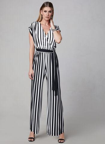 Sandra Darren - Combinaison à rayures, Noir, hi-res,  printemps 2019, cintré, ruban, contrastant, jambe large