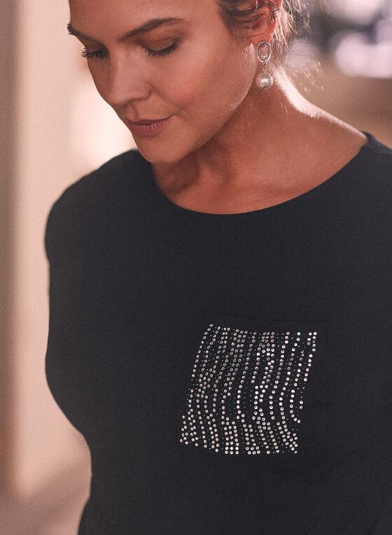Embellished Pocket T-Shirt, Black