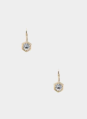 Boucles d'oreilles hexagonales à pierre, Or,  boucles d'oreilles, hexagonale, pierre, métal, automne hiver 2019