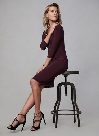 Joseph Ribkoff - Rhinestone Detail Jersey Dress, Purple, hi-res,  cocktail dress, joseph ribkoff, 3/4 sleeves, v-neck, jersey, rhinestone band, fall 2019, winter 2019
