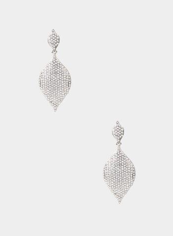 Crystal Pavé Dangle Earrings, Silver, hi-res,  dangle earrings, eye-shaped pave, fall 2019