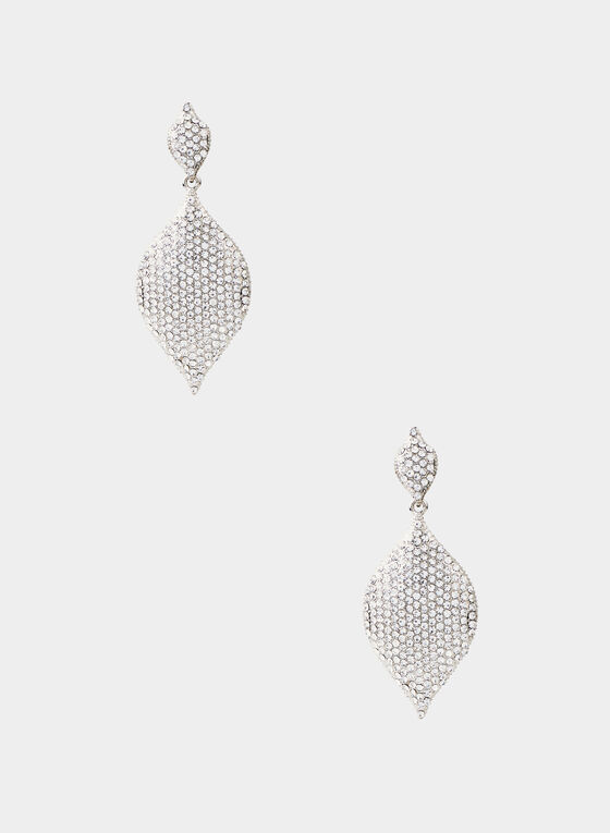 Crystal Pavé Dangle Earrings, Silver