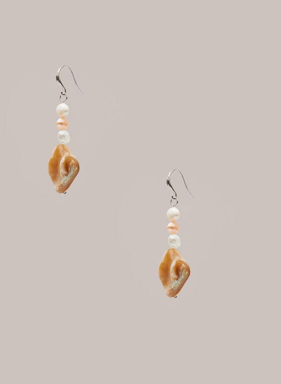 Boucles d'oreilles à pendants losanges et perles, Blanc cassé