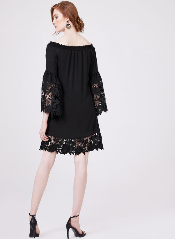 Joseph Ribkoff - Lace Trim A-Line Dress, Black, hi-res