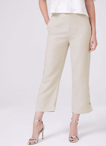 Wide Leg Linen Capri Pants, Grey, hi-res