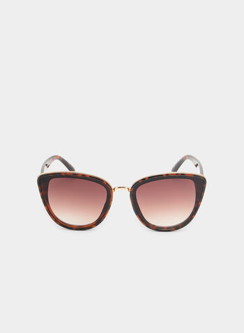 Cat Eye Sunglasses, Brown, hi-res,  sunglasses, metal trim, plastic frame, cat eye, spring 2019