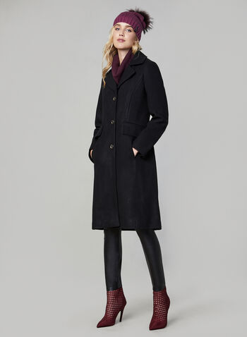 Karl Lagerfeld Paris - Notch Collar Coat, Black,  Karl Lagerfeld Paris, coat, notch collar, long sleeves, button down, wool blend, fall 2019, winter 2019