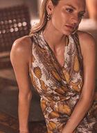 Snake Print Chain Belt Dress, Multi
