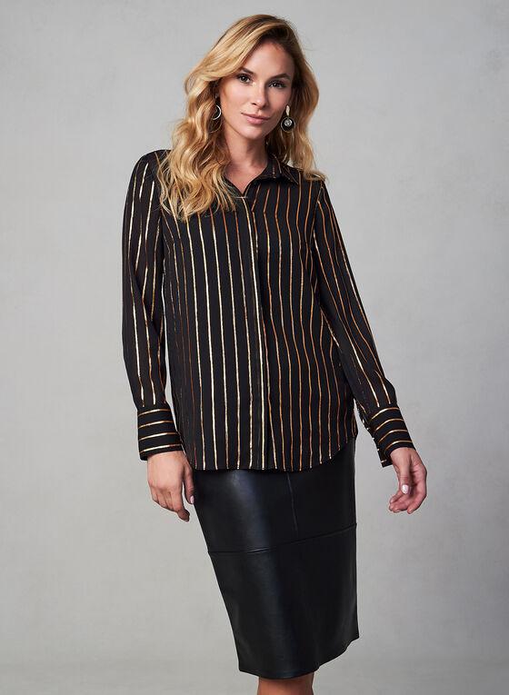 Metallic Stripe Print Blouse, Black, hi-res