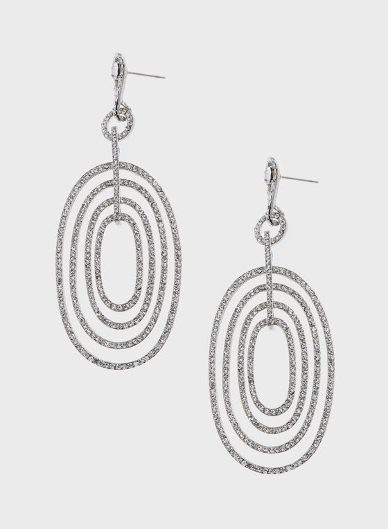 Concentric Circles Crystal Drop Earrings, Silver, hi-res