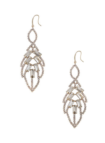 Crystal Leaf Chandelier Earrings, Gold, hi-res