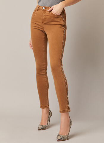Stud Detail Slim Leg Jeans, Brown,  fall winter 2020, denim, ultra soft, five pockets, 5 pockets, loops, slim leg, rivets, stud, studded, stud detail, metallic