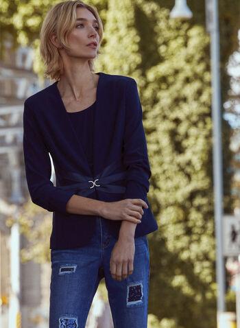 Rhinestone & Satin Detail Jacket, Blue,  fall 2021, made in canada, jacket, evening, coat, blazer, ribbon, satin, rhinestone, closure, v neckline, 3/4 sleeves, slim flit