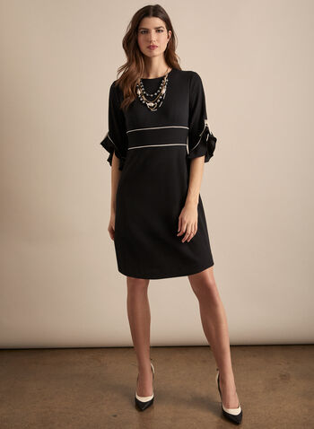 Sandra Darren - Two Tone Ruffle Sleeve Dress, Black,  dress, cocktail dress, two tone, 3/4 sleeves, contrast, ruffled, crepe, sandra darren, spring summer 2020