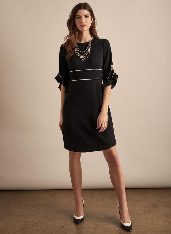 Sandra Darren - Two Tone Ruffle Sleeve Dress, Black