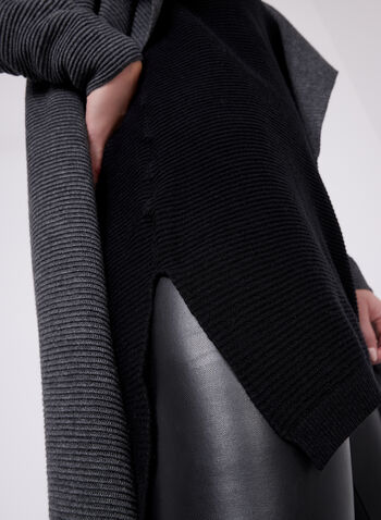 V-Neck Knit Tunic , Black, hi-res